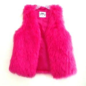 40%OFF⬇️Justice Furry Shag Hot Pink Vest 14 Girl